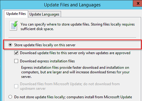 Download update files to this server only when updates are approved