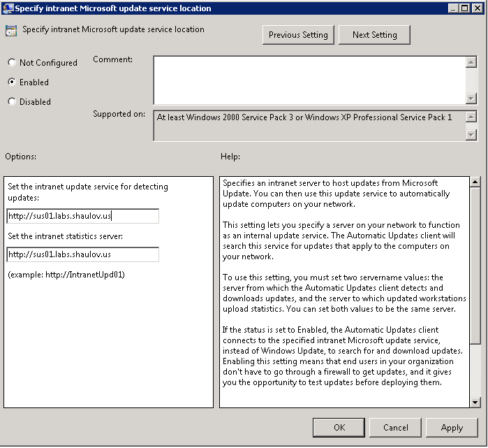 detect updates and report statistics wsus